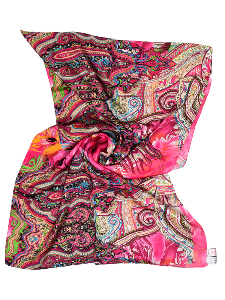 Magenta pink silk scarf with paisley design
