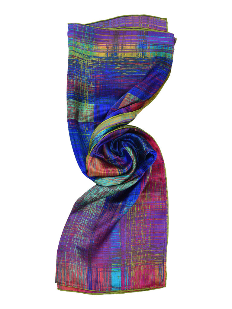 Multicolor shaded/ striped silk scarf