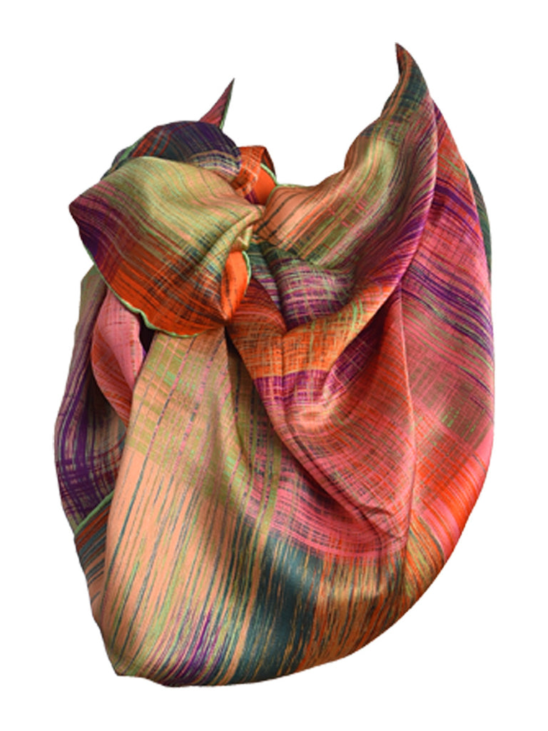 Multicolor printed silk scarf