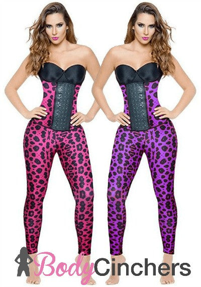 Pink Animal Print Long Workout Waist Trainer