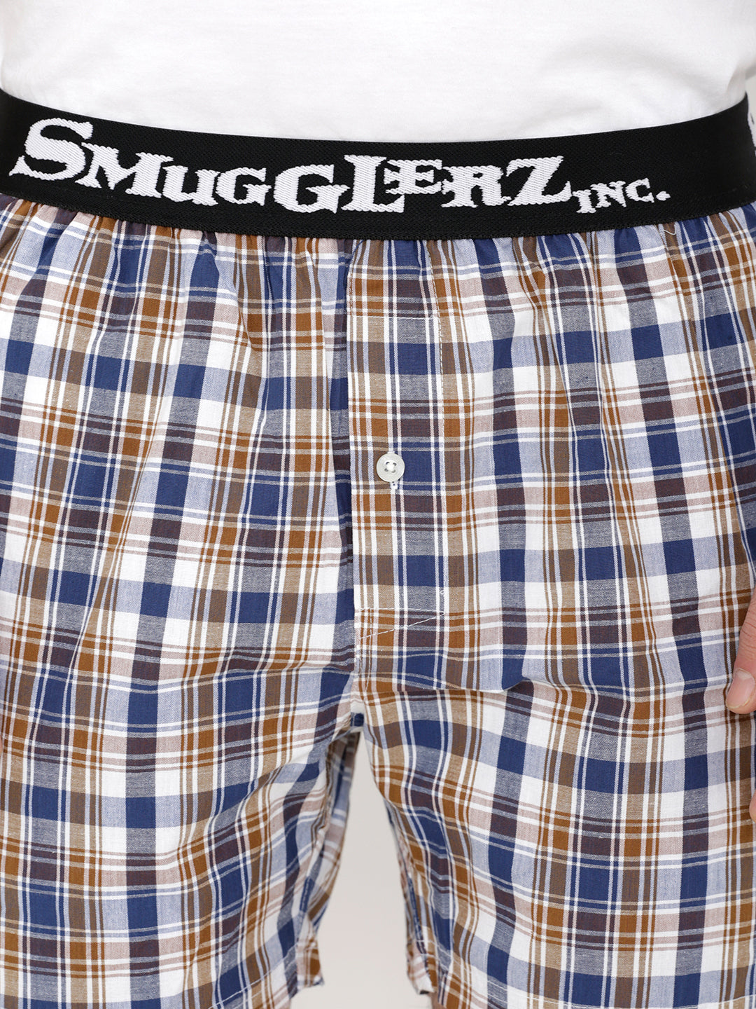 BASIC -  Small Brown Check Boxers