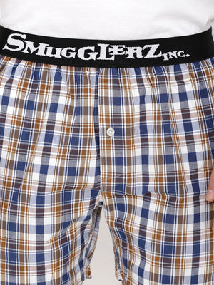 Tee & Boxer Set - White Tee with Small Brown Check Boxers