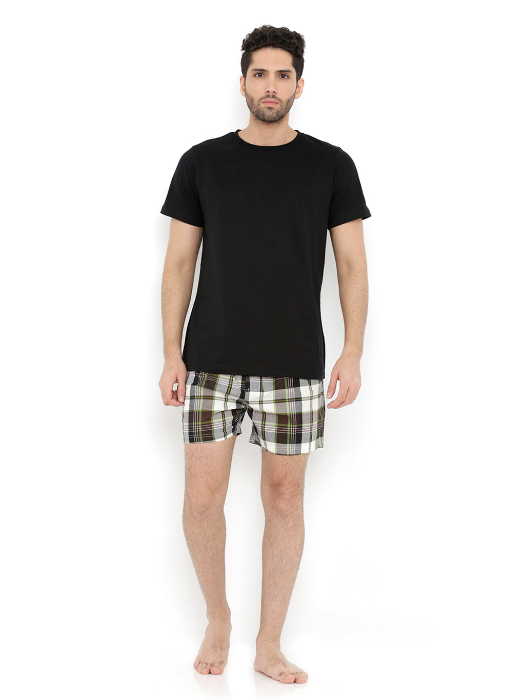 Tee & Boxer Set - Black Tee with Green Black Check Boxers