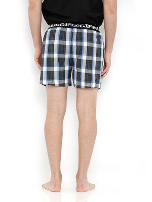 Tee & Boxer Set -  Black Tee with Olive Green Check Boxers