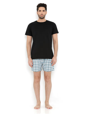 Tee & Boxer Set -  Black Tee with Small Blue Check Boxers
