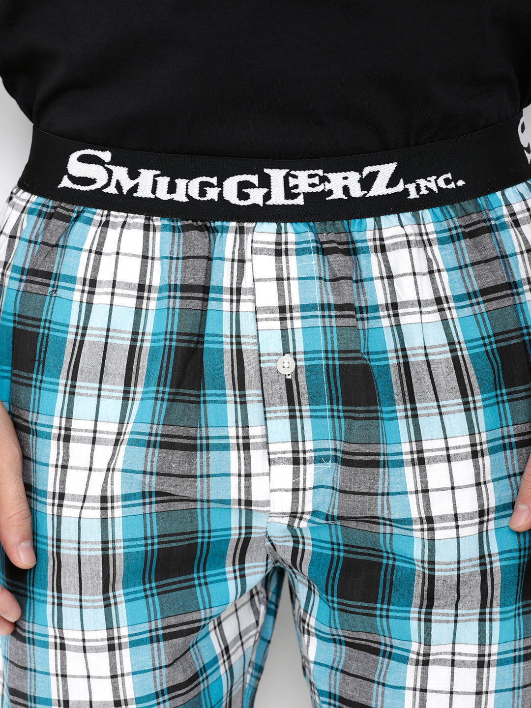Tee & Boxer Pack  - Black with Big Blue Checks