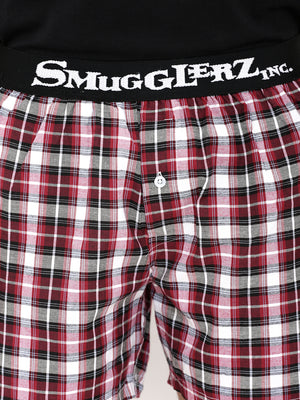 Tee & Boxer Set -  Black Tee with Red Check Boxers