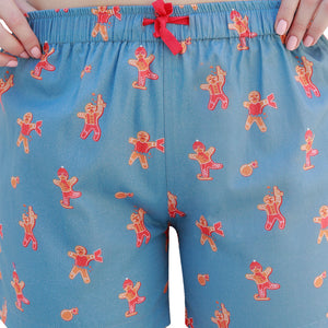 WOMEN'S X'MAS-GINGERBREAD MAN-BOXER-GREY