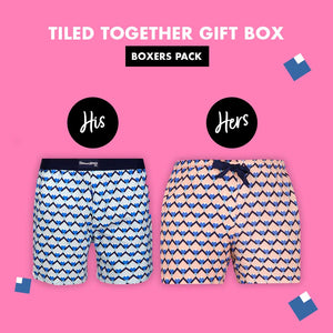Tiled Together Couple Boxer Gift Pack