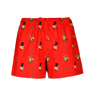WOMEN'S X'MAS-REINDEER-BOXER-RED