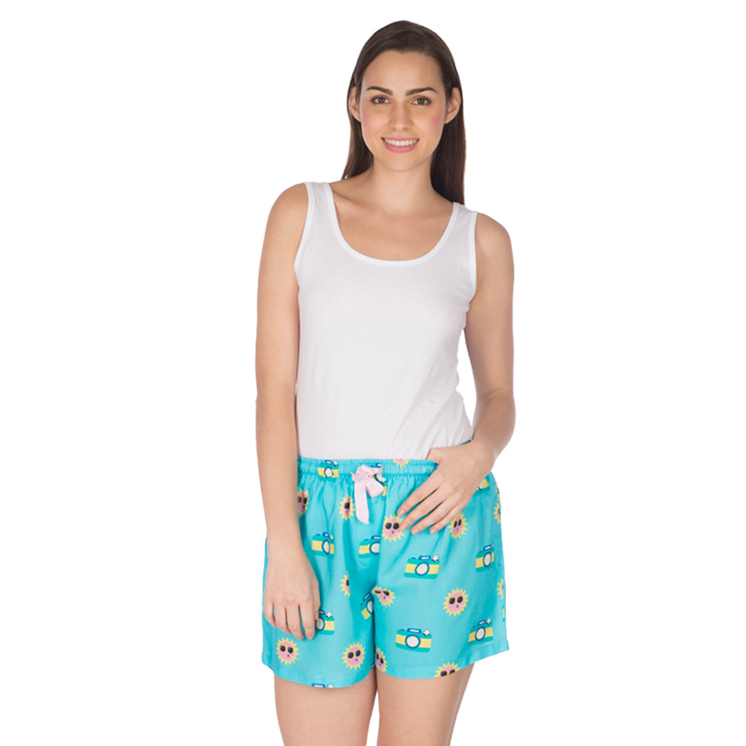 Women's Boxer-Disposable Camera-Blue