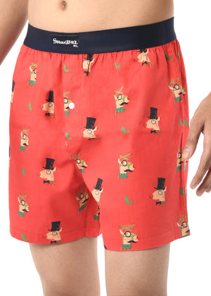 MEN'S X'MAS-REINDEER-BOXER-RED