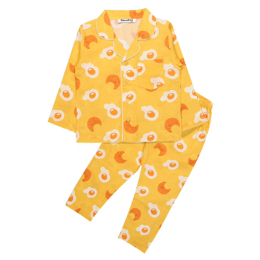 Eggs & Croissants-Yellow-Boys-Night Suit Set