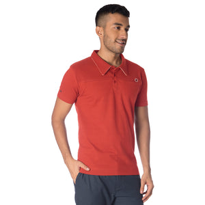 MEN'S FLAME POLO T SHIRT-RUST ORANGE