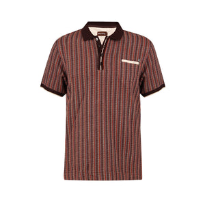 MEN'S GET STRIPED POLO T SHIRT MAROON