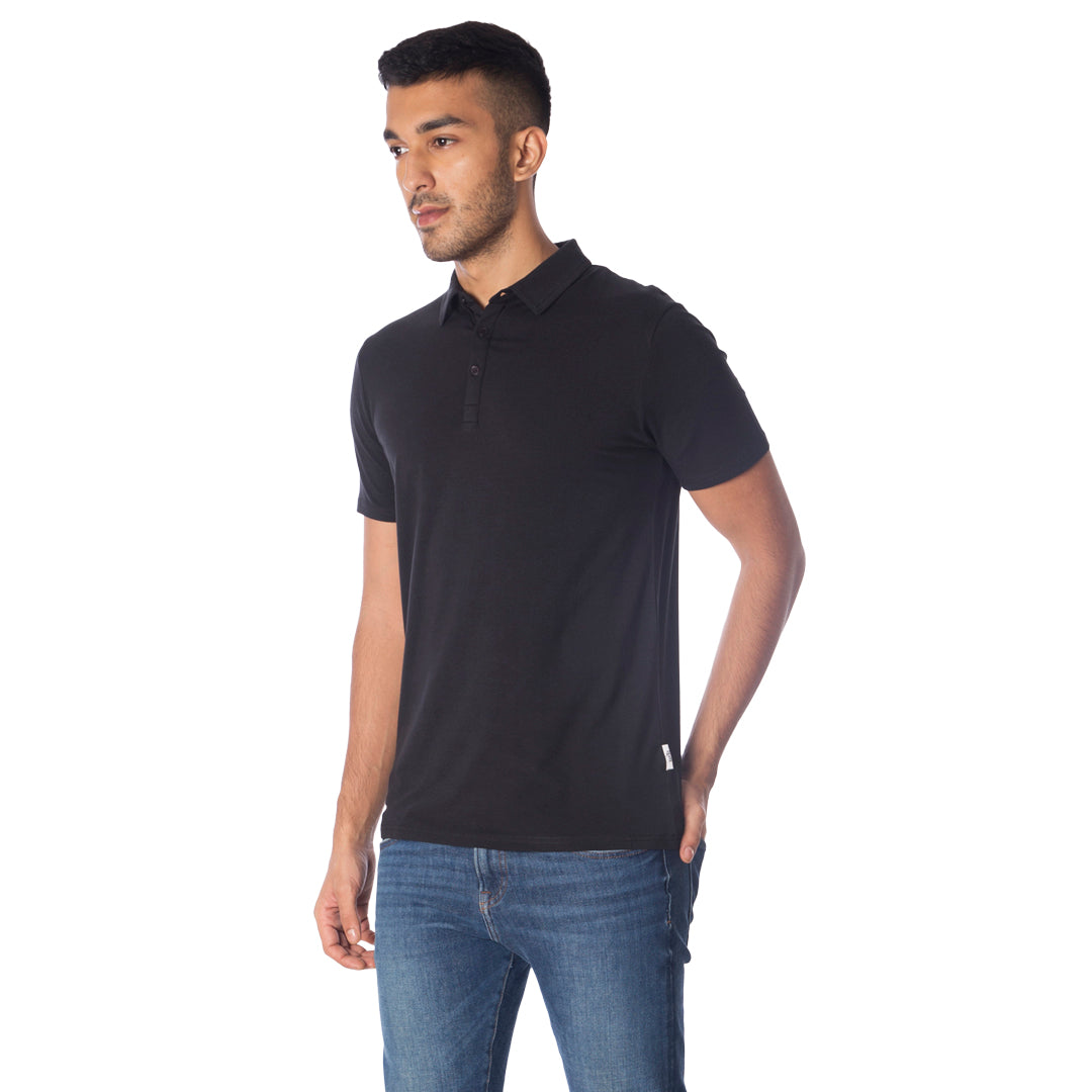 MEN'S TENCEL™ MODAL POLO TEE-BLACK