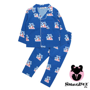 Palm Tree-Navy-Girls-Night Suit Set