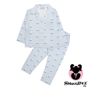 Sailboat-Blue-Girls-Night Suit Set