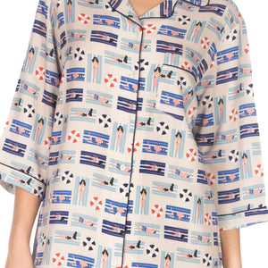 Women's-Beach-Sleep Shirt-Beige