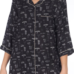 Women's-Gin Blackboard-Sleep Shirt-Black