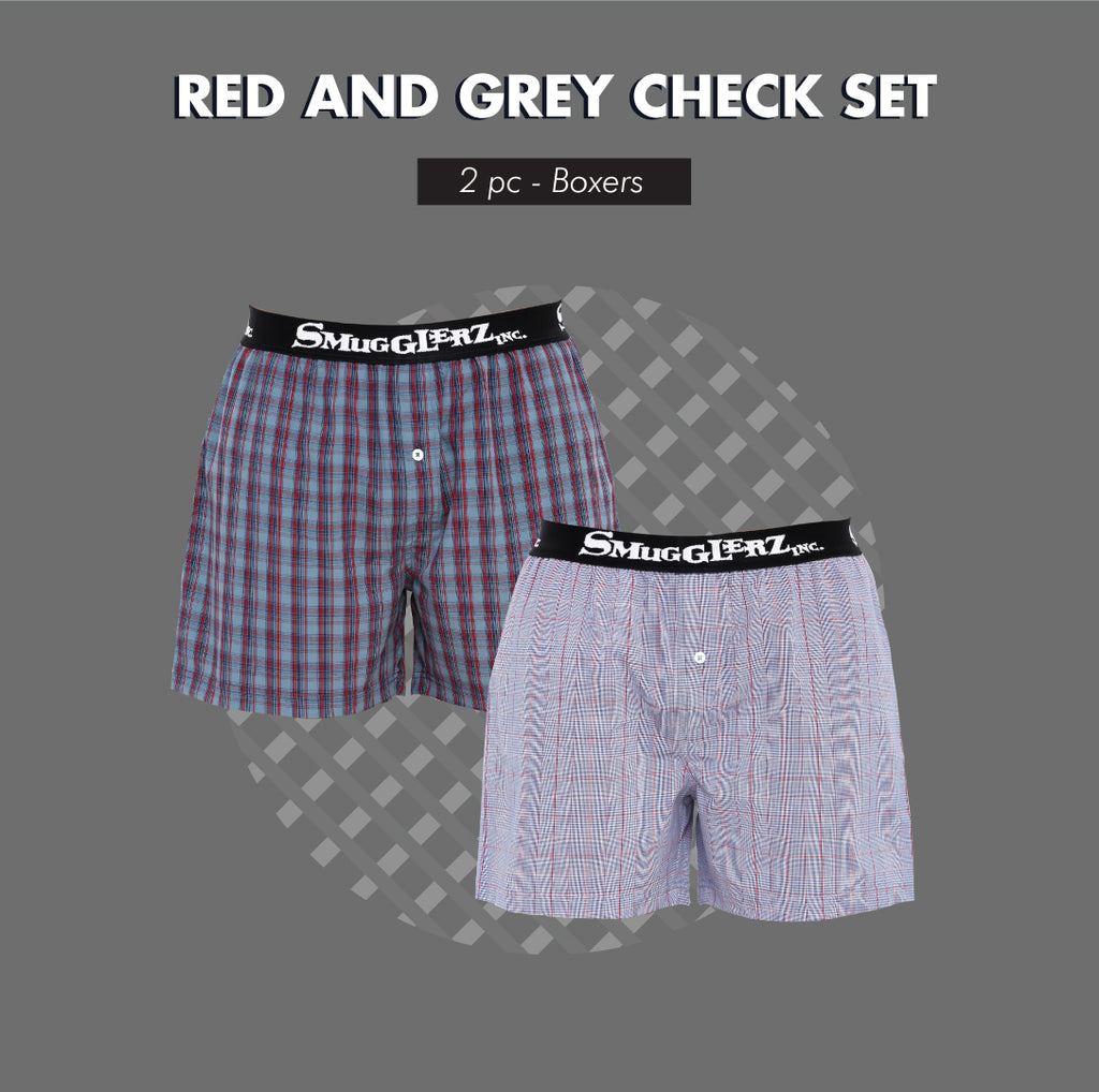 RED & GREY CHECK PACK - (Pack of 2 pc Boxers)