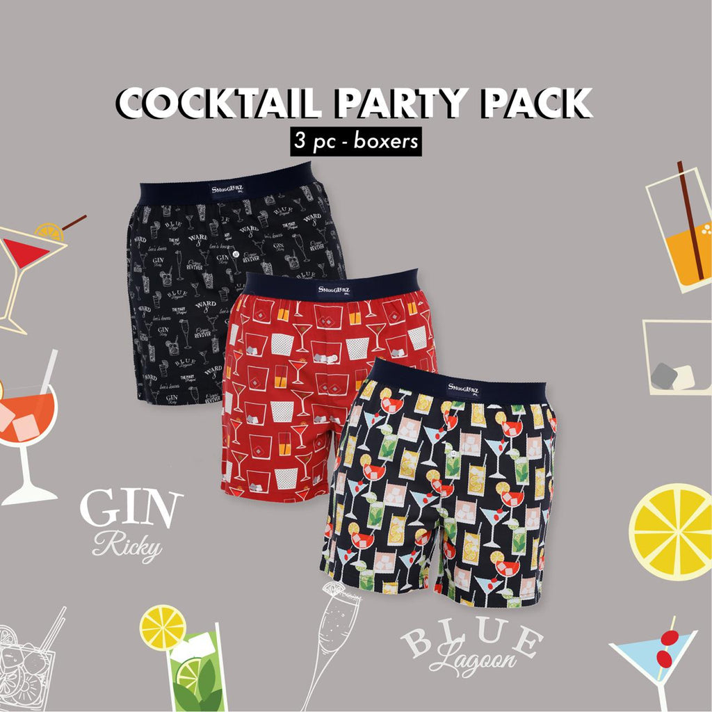 THE COCKTAIL PARTY PACK - (Pack of 3 pc Boxers)