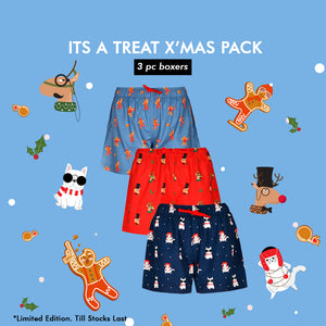 WOMEN'S X'MAS-IT'S A TREAT PACK-3 PC PACK BOXER-ASSORTED