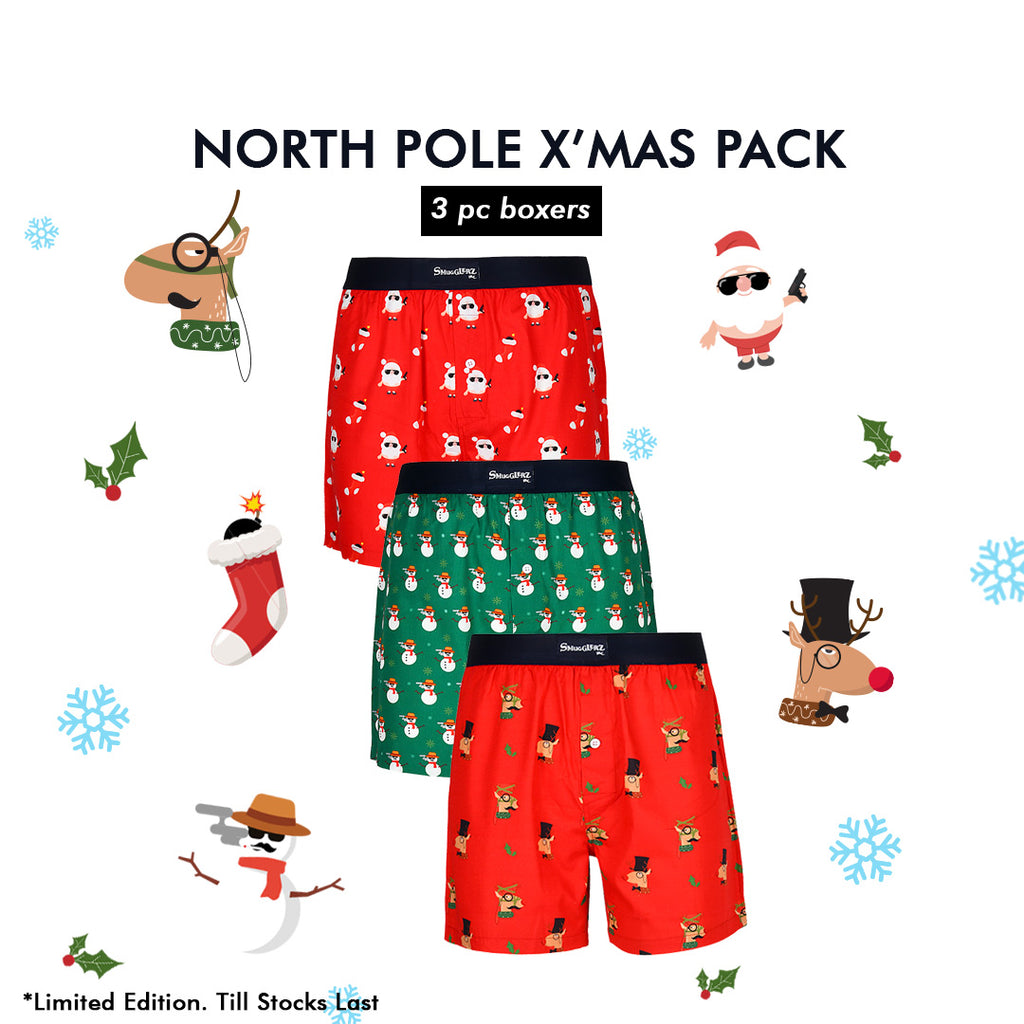 MEN'S X'MAS-NORTH POLE PACK-3 PC PACK BOXER-ASSORTED