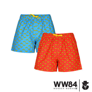WOMEN'S WW84-BOXER-2 PC PACK-RED/BLUE