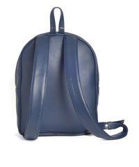 beautiful navy leather backpack by kondor handbags. Lined with artisanal ecuadorian fabric