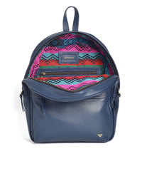 Kondor Handmade navy ethical leather backpack with artisanal ecuadorian fabric lining.