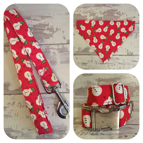 Red Snowmen Dog Collar, Lead and Bandana matching set