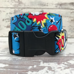 Pow Bang Smash - Blue - Dog Collar