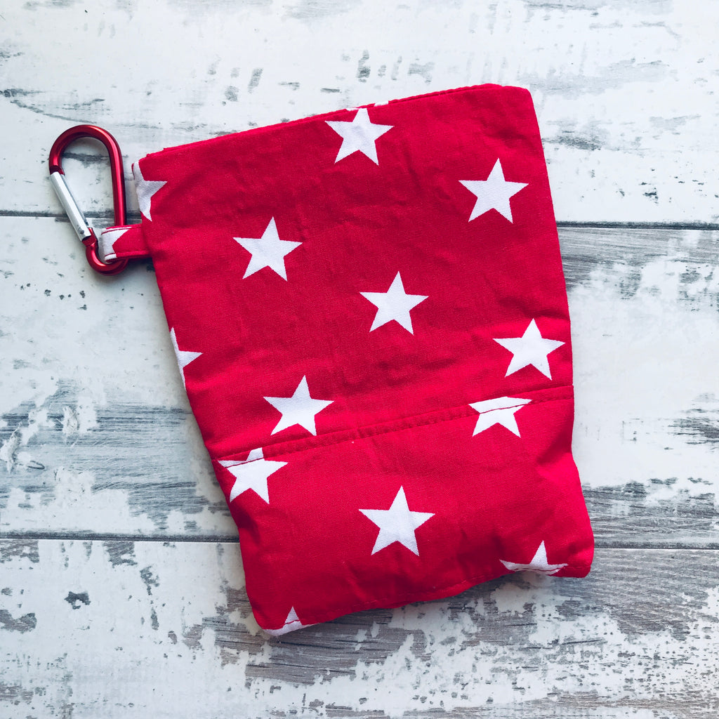 Red with White Stars Treat & Poobag Holder