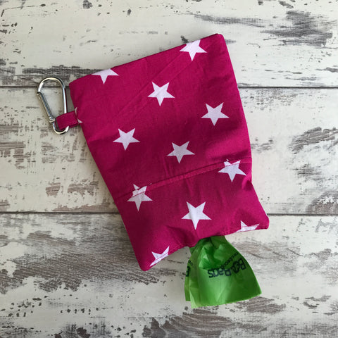 **NEW** Hot Pink with White Stars Treat & Poobag Holder
