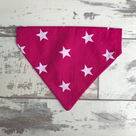 Hot Pink with White Stars Bandana