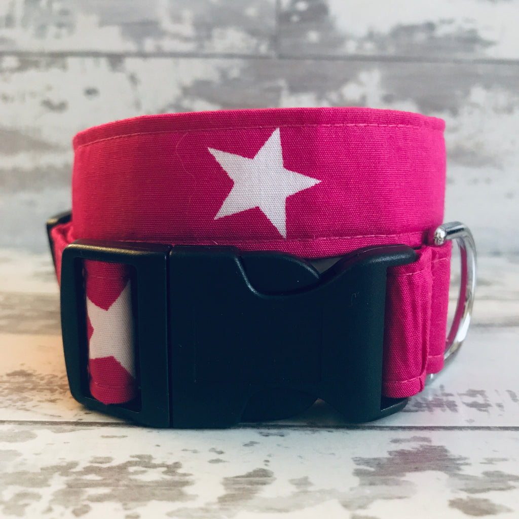 Hot Pink with White Stars - Dog Collar