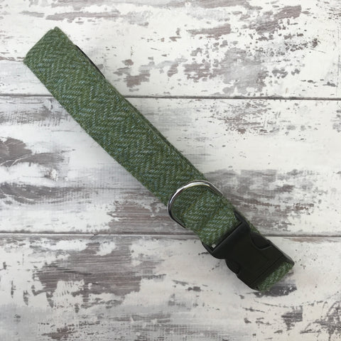 Leaf Green Tweed Dog Collar