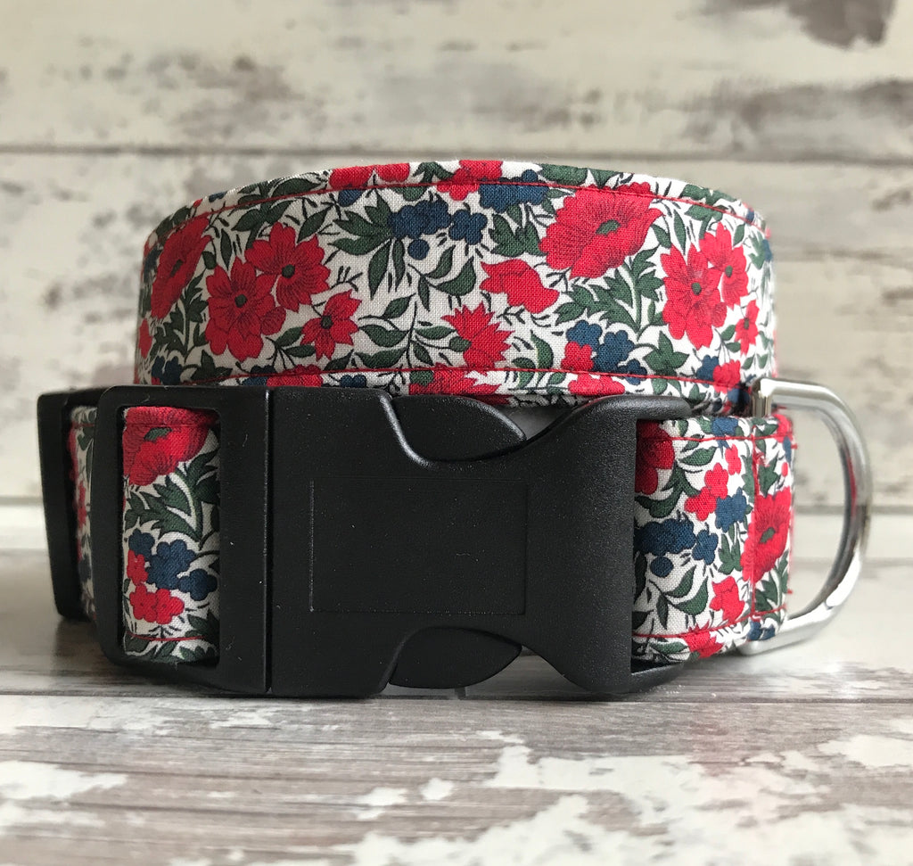 Liberty Red Roses - Dog Collar