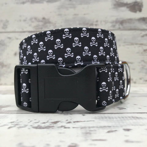 Black Ditsy Skull and Crossbones - Dog Collar