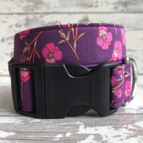 SALE -  Pink Poppies - Dog Collar