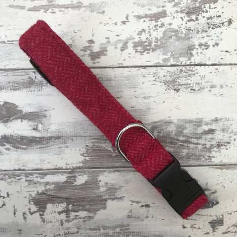 Raspberry Tweed Dog Collar