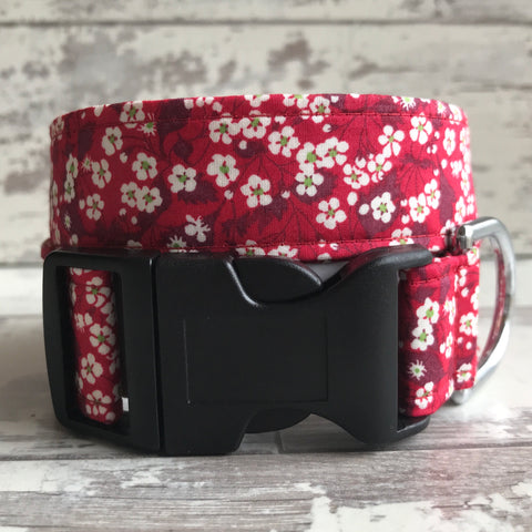 Dark Red Blossom - Dog Collar