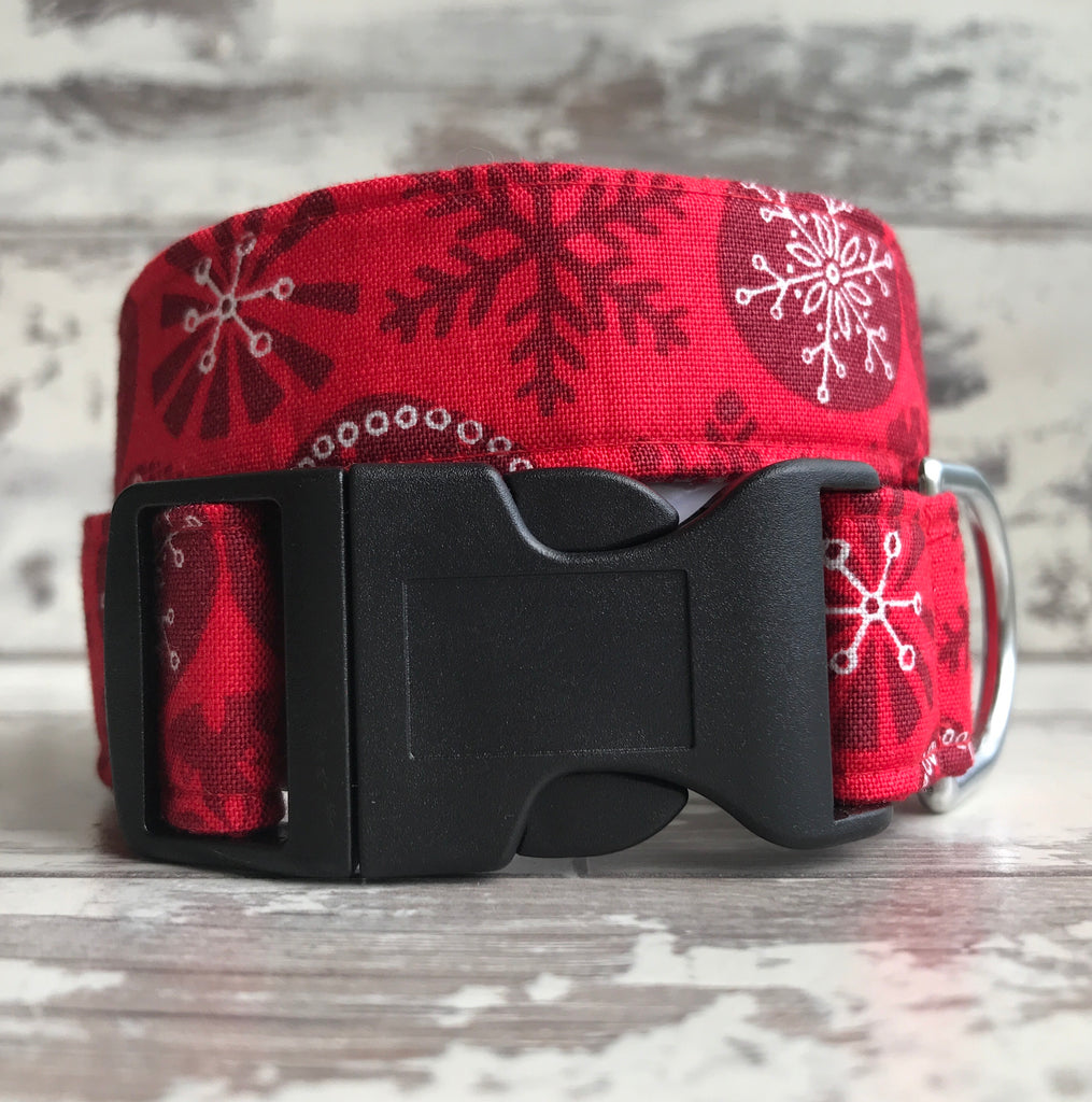 Red Yule Snowflakes - Dog Collar
