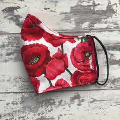 Red Poppies - Large Flowers Face Mask