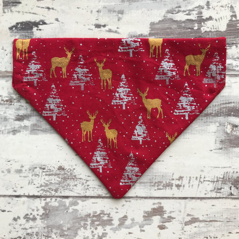 Gold Reindeer & Silver Trees - Red - Bandana
