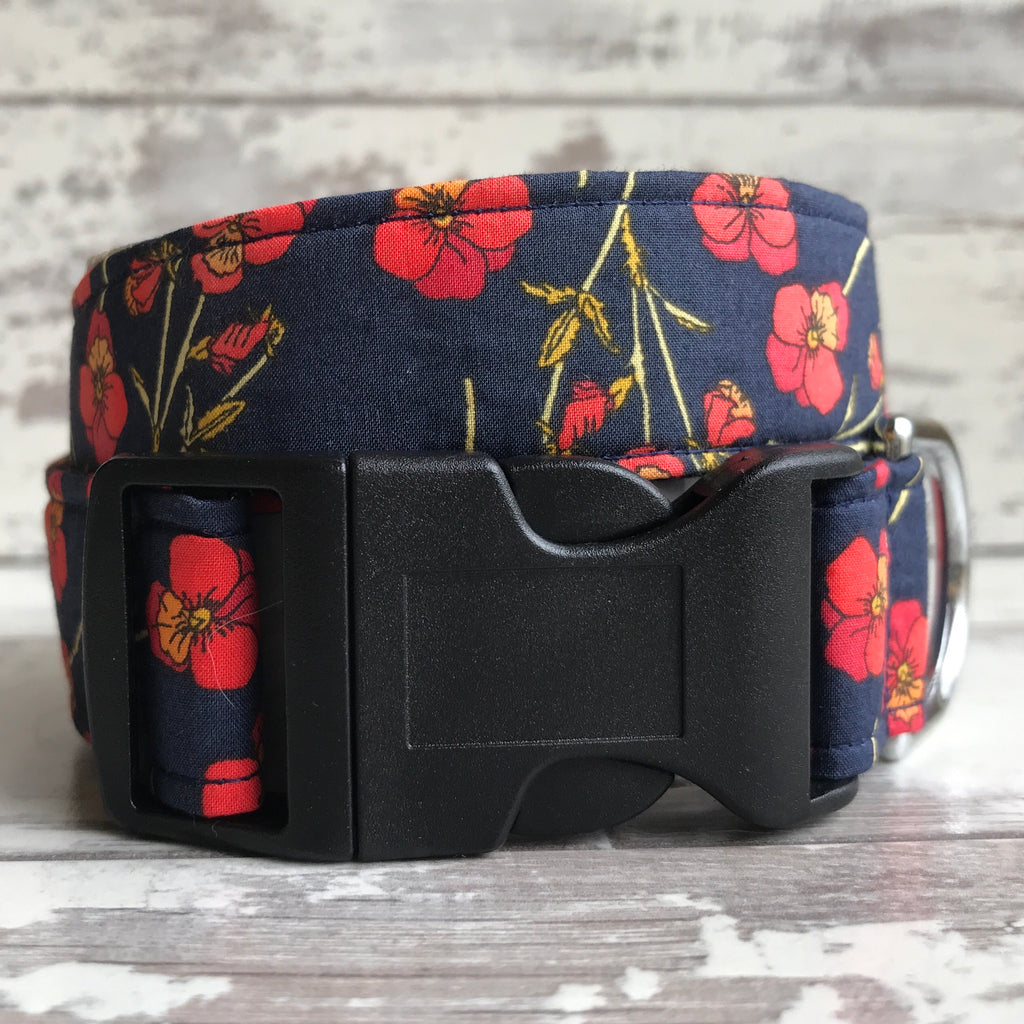 SALE - Liberty Poppies - Dog Collar
