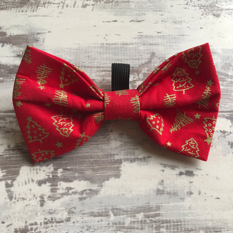 Red Festive Trees Bow Tie