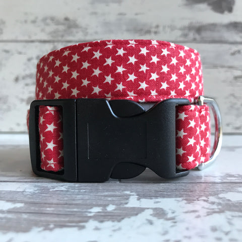 Little Red Stars - Dog Collar