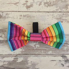 Large Rainbow Stripes Bow Tie
